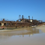 Ship Wreck on beach with blue skies