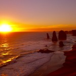 Brilliant Sunset over Rock Formation Twelve Apostles