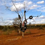Dead Tree in desert with old tires hanging on branches